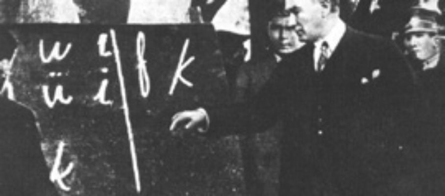 Ataturk teaching the latin alphabet in 1928