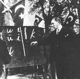 Ataturk teaching the latin alphabet in 1928