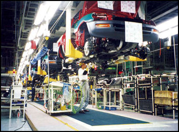 Toyota Assembly Operation Under Car On Hanging Conveyor