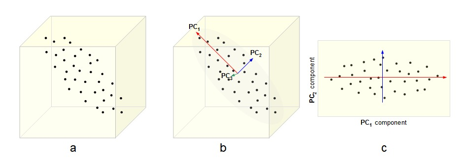 a) A data set given as 3-dimensional points. b) The three orthogonal Principal Components (PCs) for the data, ordered by variance. c) The projection of the data set into the first two PCs, discarding the third one.