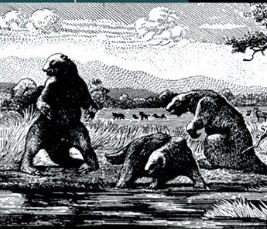Dinosaurs in tar pit