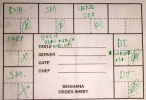 Benihana order form