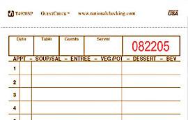 Generic restaurant order form