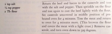 Boeuf Bourguignon Child recipe excerpt