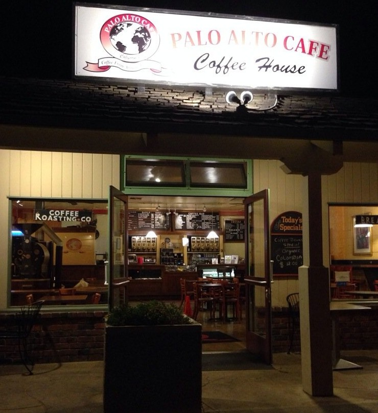 Palo Alto Cafe Front at Night